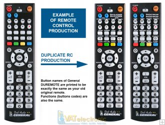 GENERAL DUPLICATE DVD-AUDIO - remote control 1:1 replacement ON DEMAND